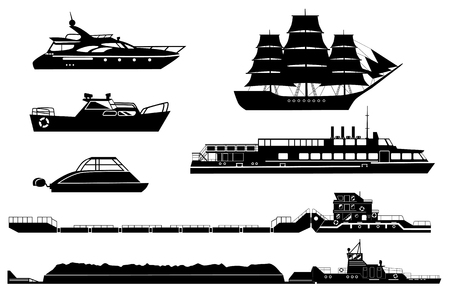 Set of isolated industrial tugs and passenger boats in silhouette illustration.