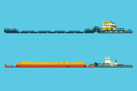 Set of tug with bulk cargo in 8 bit art style illustration. Illustration