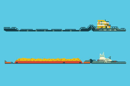 Set of tug with bulk cargo in 8 bit art style. Colored pixel illustration. Industrial cargo ships Banque d'images