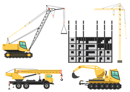 Construction cranes and machinery in project site building houses. Color vector icons set.