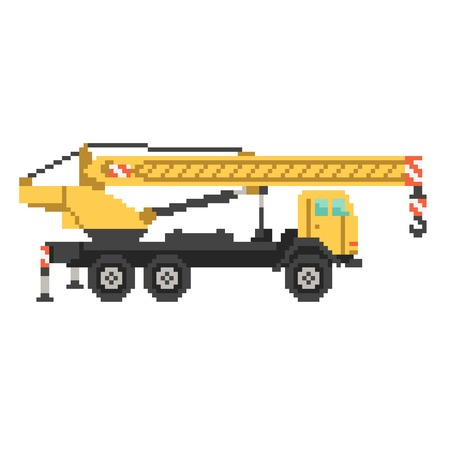Yellow crane truck in 8 bit game style. Pixel color vector illustration isolated on white background. Construction building machinery Ilustrace