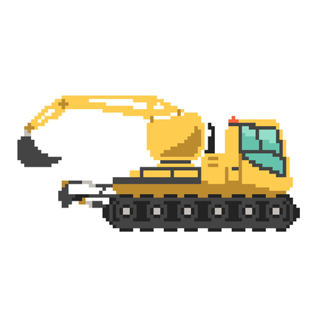 Yellow excavator in 8 bit game style. Pixel vector illustration isolated on white background. Construction building machinery