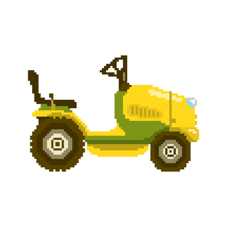 Garden tractor in 8 bit game style. Pixel color vector illustration isolated on white background. Agricultural farm machine equipment for grass mowing
