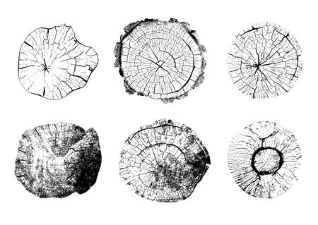 Vista dall'alto di ceppi di alberi isolati su sfondo bianco. Set di strutture in legno rotonde naturali. Illustrazione vettoriale in bianco e nero Icone di tronchi tagliati con anelli annuali Vettoriali