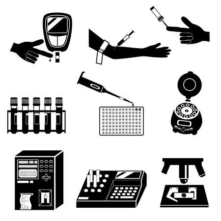 Blood cell count or biochemical blood test and medical equipment silhouettes. Black and white vector icons set isolated on white background