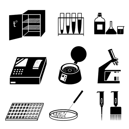 Silhouettes of microbiology icons set. Laboratory analysis, tests and equipment. Black and white vector illustration isolated on white background Ilustração