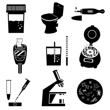 Silhouettes of urine test analysis and medical laboratory equipment. Black and white illustration. Laboratory icons set Banco de Imagens