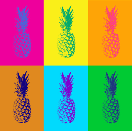 Abstract seamless pattern with pineapple. Modern colorful pop art background. Retro concept and duotone design 免版税图像