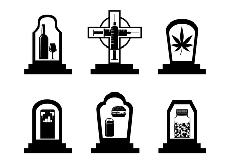 Silhouettes set of bad habits and addiction icons in tombstones isolated on white background. Black and white vector illustration