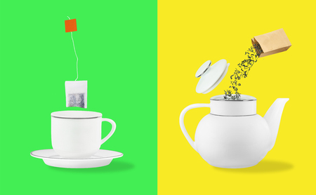Comparison of tea leaves and tea bag brewing. Cup on saucer and teapot on yellow and green backgrounds