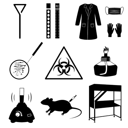 Microbiology laboratory icons set isolated on white background. Black and white vector illustration. Silhouettes of biological equipment and test analysis. Stock Illustratie