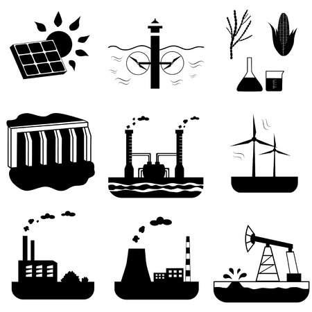 Silhouettes of energy sources icons set. Black and white vector illustration. Hydroelectric, solar, tidal and other power generation Иллюстрация