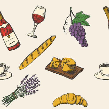 Vintage seamless pattern with hand drawn food icons. Color doodle vector illustration
