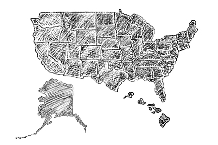 Hand drawn map of United States of America (USA) painted with charcoal pencil. Black and white illustration isolated on white background.