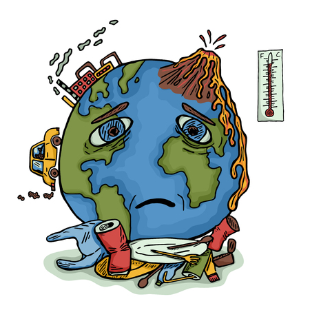 Handgezeichneter Planet Erde mit traurigem Gesicht. Ökologisches Konzept der globalen Erwärmung und Verschmutzung. Farbvektorillustration Vektorgrafik
