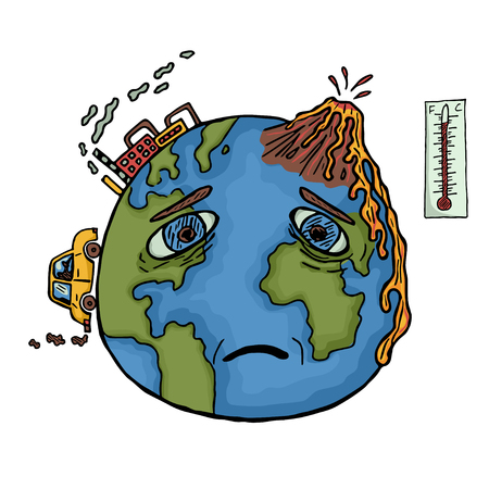 Hand drawn planet Earth with sad face. Global warming and pollution with cars and plants. Color illustration Stock Photo