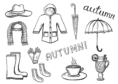 Set of hand drawn autumn clothes and accessories. Black and white illustration isolated on white background. Pencil or ink drawing