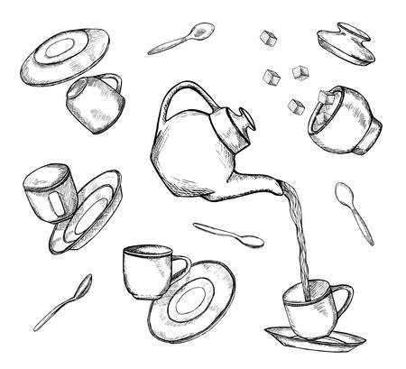 Set di tazze da tè volanti e cadenti disegnate a mano, piatti e icone di pentole isolate su priorità bassa bianca. Illustrazione vettoriale in bianco e nero abbozzato Vettoriali