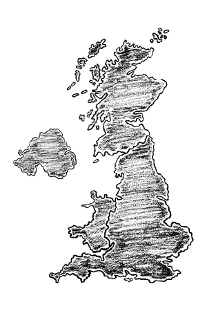 Hand drawn map of United Kingdom painted with pencils. Black and white vector illustration isolated on white background. Stock Illustratie