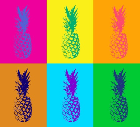 Seamless pattern with pineapple. Modern duotone background in pop art style. Color vector illustration