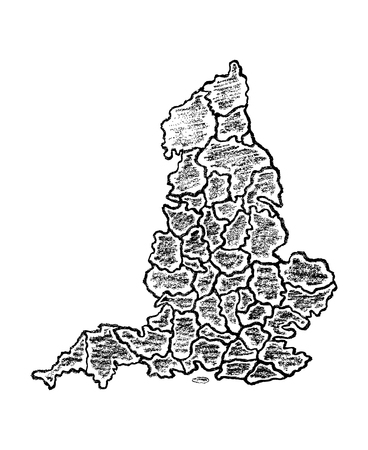 Detailed hand drawn map of England with counties painted with pencils. Black and white illustration isolated on white background.