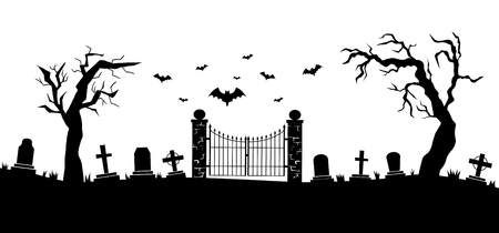 Panorama of cemetery or graveyard. Silhouettes of gravestones, fence, trees etc isolated on white background. Black and white illustration for Halloween