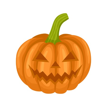 Pumpkin for Halloween party. Color flat vector illustration isolated on white background