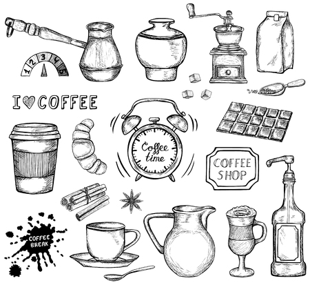 Set of hand drawn coffee icons isolated on white background. Coffee cup, beans, dessert and other sketched elements. Black and white vector illustration Vectores