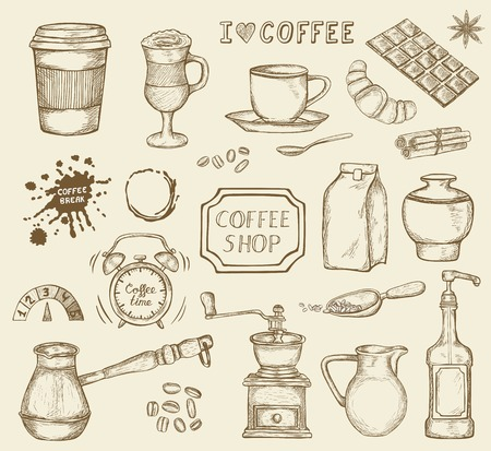 Set of hand drawn coffee icons isolated on white background. Coffee grinder, chocolate, mug and other sketched elements. Vector illustration in vintage retro style