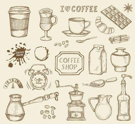 Set of hand drawn coffee icons isolated on white background. Coffee grinder, chocolate, mug and other sketched elements. Vector illustration in vintage retro style Ilustracje wektorowe