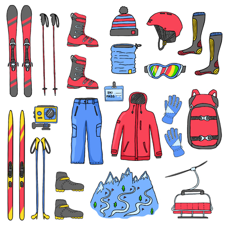 Set of mountain and cross-country skis icons isolated on white background. Sport clothes, accessories and equipment. Color vector illustration