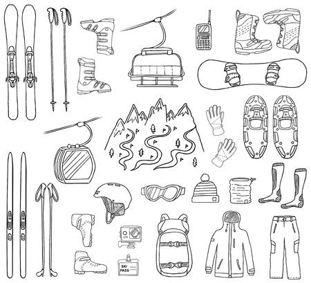 Zestaw ikon rysowane ręcznie narty i snowboard na białym tle. Doodle sportowe ubrania, akcesoria i sprzęt. Czarno-biała naszkicowana ilustracja wektorowa
