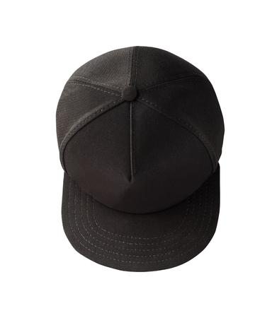 Vue de dessus de la casquette snapback noire isolée sur fond blanc. Casquette de camionneur Banque d'images
