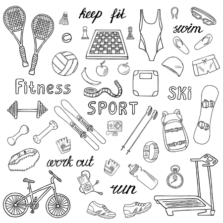 Set of sport and fitness hand-drawn icons isolated on white background. Doodle accessories and equipment for running, skiing, swimming, weightlifting etc.. Black and white sketched vector illustration  イラスト・ベクター素材