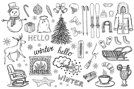 Set of hand drawn winter and christmas icons of clothes, gifts, New Year tree etc.. Doodle design elements. Black and white vector illustration isolated on white background Stock Illustratie