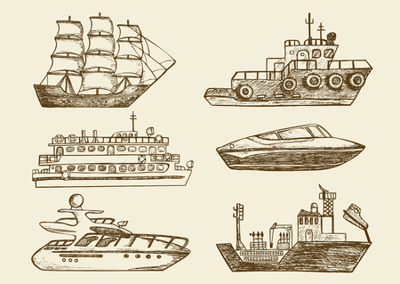 Set of hand drawn sea boats, passenger ships and yachts. Vintage vector illustration of nautical vessels 向量圖像