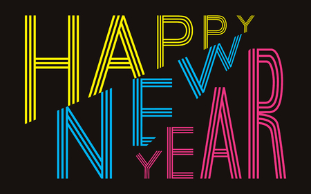 Happy New Year text for greeting cards, posters etc. Abstract geometrical shapes. Color vector illustration on black background