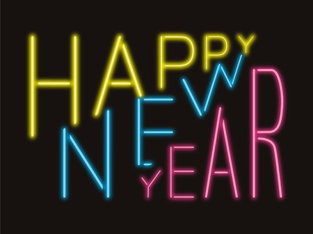 Happy New Year illuminated neon text on black background. Color glowing fonts in retro style. Color vector illustration