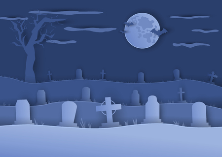 Cemetery or graveyard background in paper cut art style. Moon and silhouettes of gravestones. Abstract color vector illustration for Halloween posters or banners Ilustração