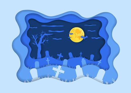 Cemetery or graveyard background in paper cut art style. Silhouettes of gravestones, bats and moon. Colorful vector illustration