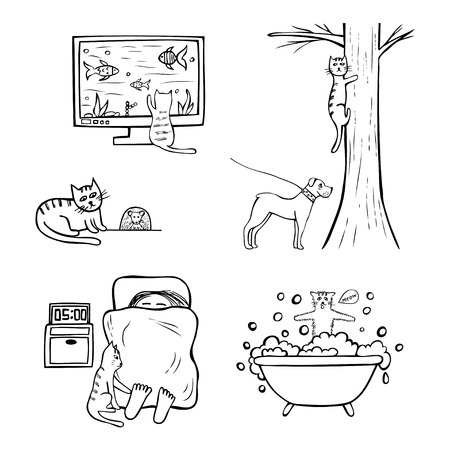 Set of hand-drawn funny icons of cat life. Sketched doodle black and white vector illustration isolated on white background