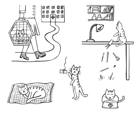 Set of hand-drawn icons of domestic cat life. Sketched doodle black and white vector illustration isolated on white background Ilustração