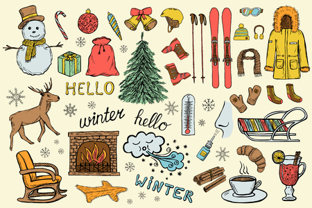 Set of hand drawn winter and christmas icons of clothes, gifts, New Year tree etc.. Doodle sketched design elements. Color vector illustration