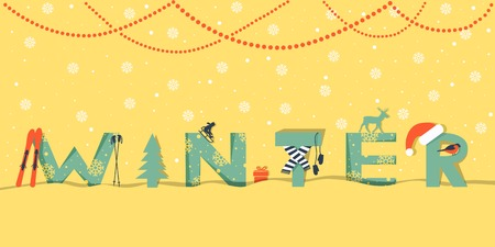 Winter text in paper cut art style with snowflakes and snow. Greeting card or banner background. Color vector illustration Ilustração