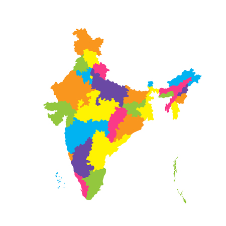 Administrative map of India. Color vector illustration isolated on white background 일러스트