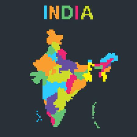 Map of India in 8 bit pixel art style. Color vector illustration Ilustração