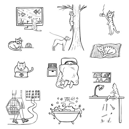 Hand-drawn icons of cat. Funny doodle life of domestic animal. Sketched black and white vector illustration