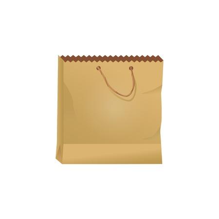 Front view of paper bag isolated on white background. Color vector illustration Ilustração