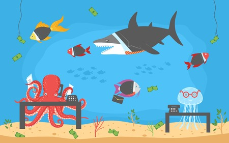 Funny cartoon background of office corporate life with fishes in suits and other sea animals. Color vector illustration