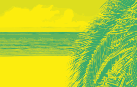 Beach background with palm tree. Duotone art style. Color illustration